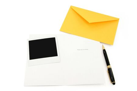 greeting card and yellow envelope, communication concept Stock Photo - 790245