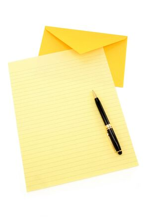 envelop: yellow letter paper and yellow envelope, communication concept