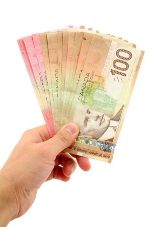canadian dollars with white background, business concept