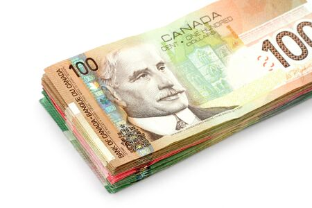 canadian cash: canadian dollars with white background, business concept