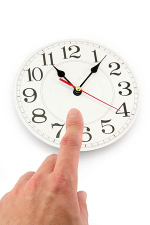 hand and clock with white background, concept of time control Stock Photo - 790476