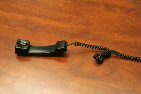 earpiece: a black handset, communication concept Stock Photo