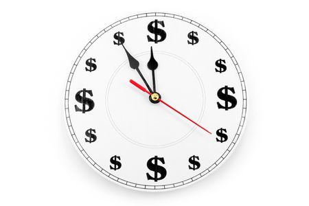 clock and dollar sign, concept of time is money
