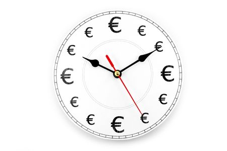 clock and Euro Symbol, concept of time is money Banco de Imagens