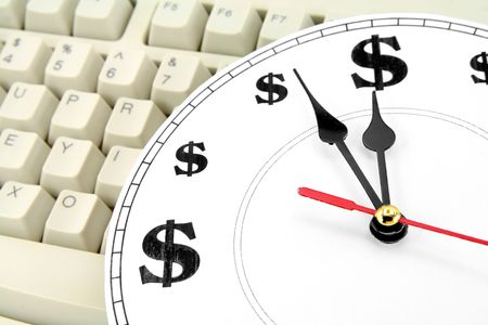 clock and dollar Symbol, concept of time is money Banco de Imagens