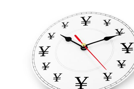 clock and Yen Sign, concept of time is money