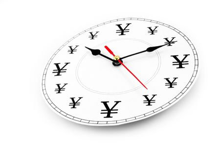 yen sign: clock and Yen Sign, concept of time is money