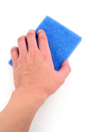 scrubber: hand holding blue scrubber with white background