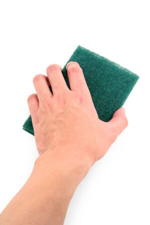 scrubber: hand holding green scrubber with white background