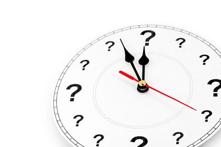 question mark clock, concept of time Imagens