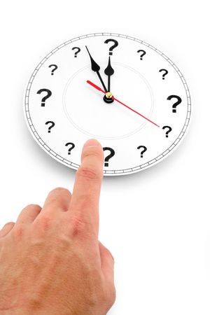 question mark clock, concept of time Stock Photo
