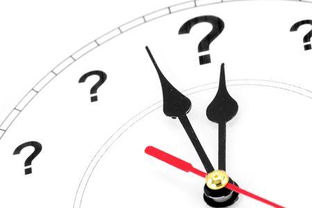 question mark clock, concept of time Stock fotó
