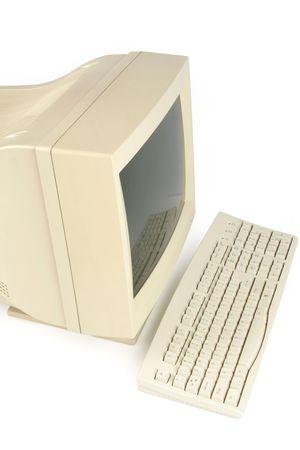 ordinateur de bureau: isol� ancien ordinateur de bureau Banque d'images