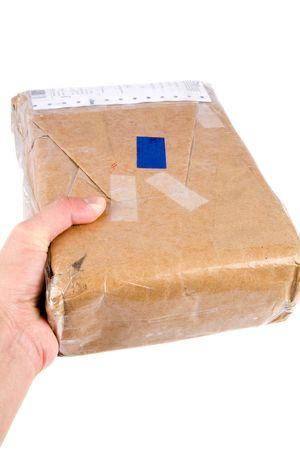 addressed: uno marrone pacchetto di carta da vicino tiro Archivio Fotografico