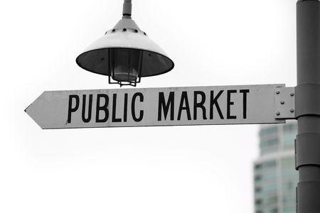public market sign: public market sign close up