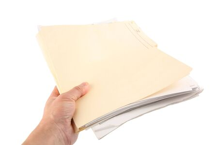 handing over a file folder, business concept Stock Photo