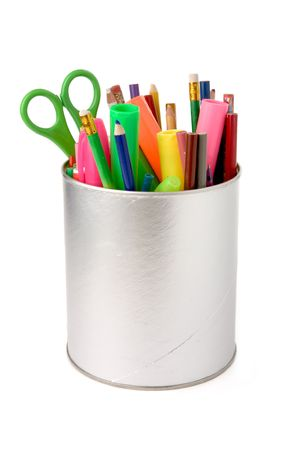 colorful pencils with white background Stock Photo