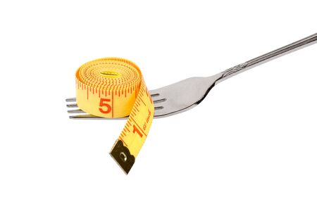 Tape Measure and fork,  concept of diet Stock Photo