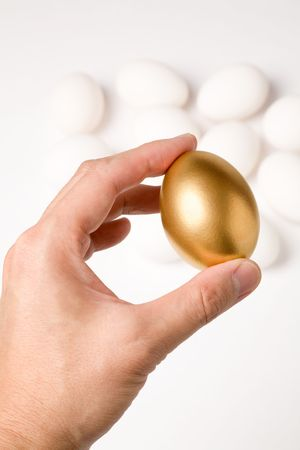 holding a golden egg, concept of Making Money Stock Photo - 939317