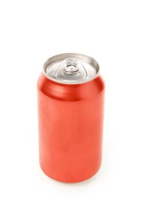 lata de refresco: En blanco sosa puede con fondo blanco  Foto de archivo
