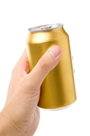 gold cans: La soda pu� vuoto con sfondo bianco  Archivio Fotografico