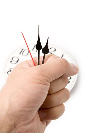 clock: holding clock hands, concept of time control Stock Photo