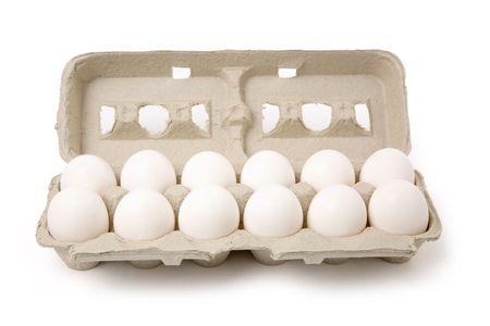 white eggs in carton with white background Stock Photo - 1039902