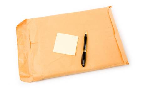big envelope and notepaper with white background