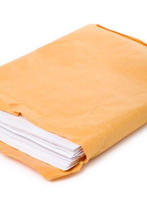 manila envelop: big envelope big envelope and document with white background Stock Photo