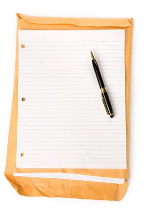 casing paper: big envelope and blank notepaper with white background