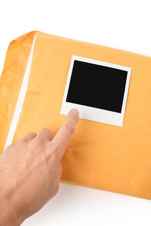 big envelope and photo with white background Stock Photo