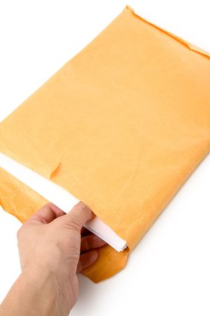 casing paper: big envelope big envelope and document with white background Stock Photo