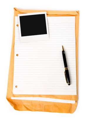 casing paper: photo and notepaper with white background Stock Photo