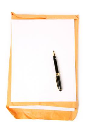 manila envelop: big envelope and notepaper with white background
