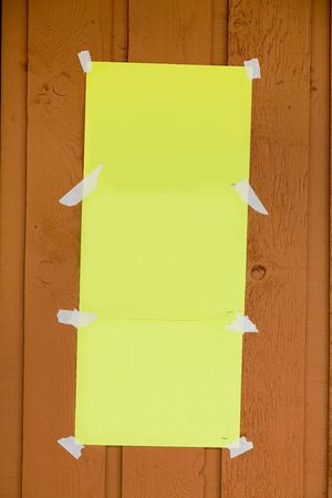 ad: blank yellow paper stick on outside wall
