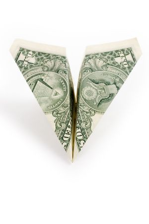 dollar paper airplane, business concept