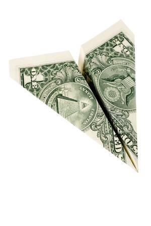papierflugzeug: Papier-Dollar-Flugzeug, Business-Konzept