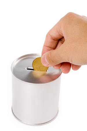 canadian dollar and Coin Bank, concept of savings or Donation photo
