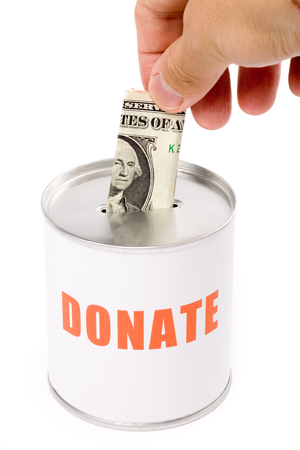dollar and Donation Box, concept of Donation Stock Photo - 1439788