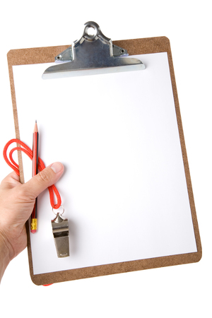roster: Clipboard and Whistle, sport concept