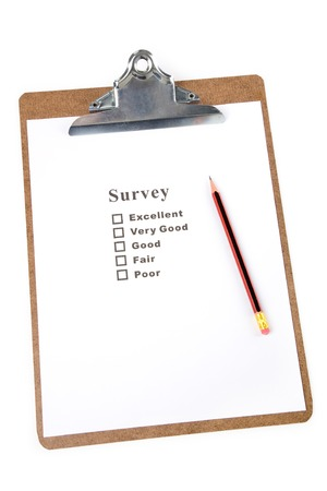 a Clipboard and questionnaire with white background Фото со стока
