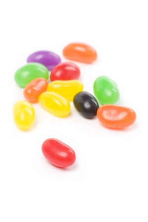 Colorful jellybeans close up shot with white background