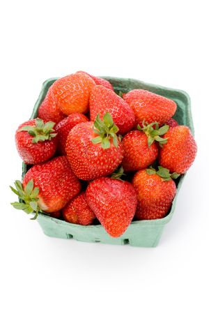 a box of Strawberrys with white background photo
