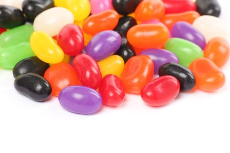 green bean: Colorful jellybeans close up shot with white background