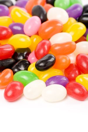 jellybean: Colorful jellybeans close up shot with white background