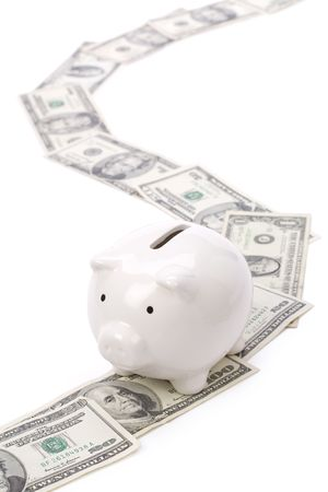path to wealth: Piggy Bank and dollars, concept of road for success