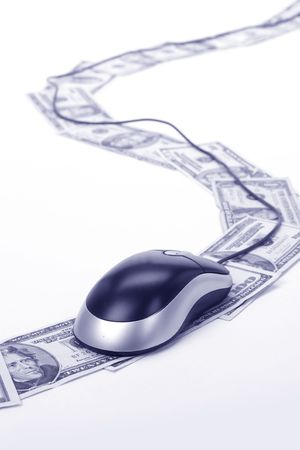 Dollars and computer mouse, concept of online business, e-commerce Stock Photo