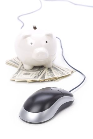 Piggy Bank and computer mouse, concept of e-commerce, online banking Stock Photo - 1831989
