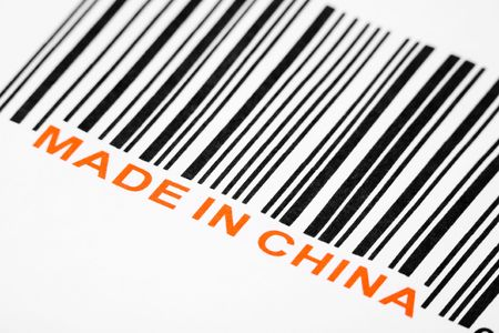 economic issues: Made in China and barcode, business concept Stock Photo