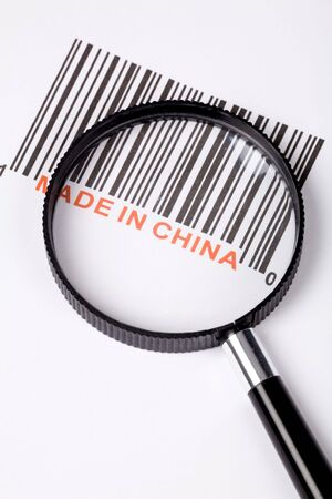 made in: Gemaakt in China en barcode, business concept Stockfoto